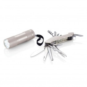 Zestaw narzędzi Quattro, scyzoryk wielofunkcyjny 13 el., latarka - P221.192