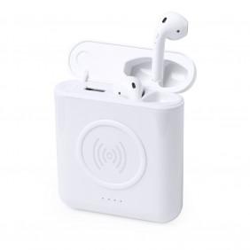 Bezprzewodowe słuchawki douszne, power bank 5200 mAh, ładowarka bezprzewodowa 5W - V0315-02