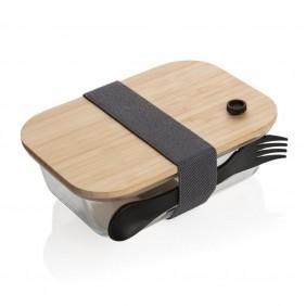 Szklane pudłeko śniadaniowe z bambusowym wieczkiem - P269.560