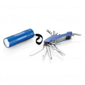 Zestaw narzędzi Quattro, scyzoryk wielofunkcyjny 13 el., latarka - P221.195