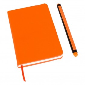 Notatnik ok. A6 z długopisem z zatyczką, touch pen - V2887-07